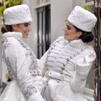 witte kostuums ijskoningin promotie bruiloft hosstes circus