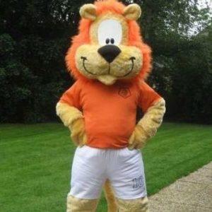 loekie de leeuw oranje voetbal mascotte looppak bedazlled